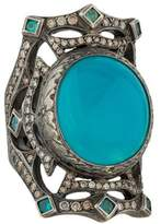 Loree Rodkin 18K Diamond & Chrysocolla in Chalcedony Cocktail Ring