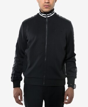 Sean John Men's Logo Taping Neoprene Track Jacket