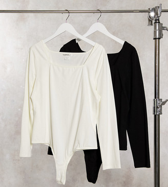 Glamorous Curve 2 pack long sleeve scoop neck body in black and white