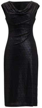 Connected Petite Sleeveless Cowl-Neck Midi Sheath Dress