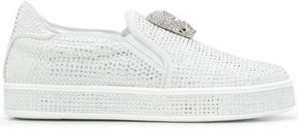 Philipp Plein Crystal-Embellished Slip-On Sneakers