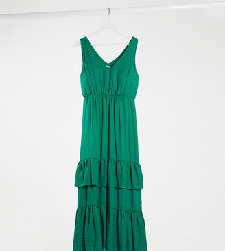 Vila Petite maxi dress with tiered skirt in green spot