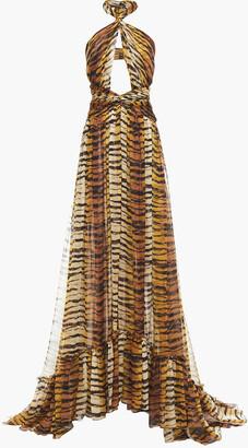 Dundas Cutout Tiger-print Silk-chiffon Halterneck Gown