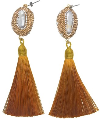 Farra Rhinestone Bordered Pearl & Golden Tassel Swinging Earrings