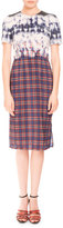 Altuzarra Short-Sleeve Bleached Plaid Dress, Royal Blue