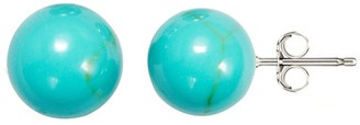 V3 Jewelry Sterling Silver Turquoise 8mm Ball Stud Earrings - Blue
