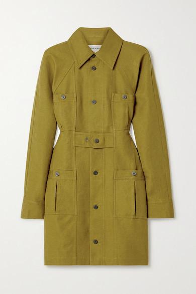 Mara Hoffman + Net Sustain Ino Linen And Organic Cotton-blend Mini Shirt Dress - Army green