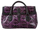 Bottega Veneta Snakeskin Intrecciato-Trimmed Bag w/ Tags