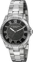 Stuhrling Original Women's 743.01 Vogue Audrey Shimmer Swiss Quartz Black Dial Stainless Steel Bracelet Watch