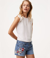 LOFT Floral Embroidered Cut Off Shorts