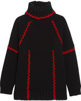Alexander McQueen Oversized Embroidered Cashmere Turtleneck Sweater - Black