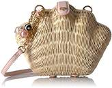 Betsey Johnson What the Shell Straw Wicker Crossbody