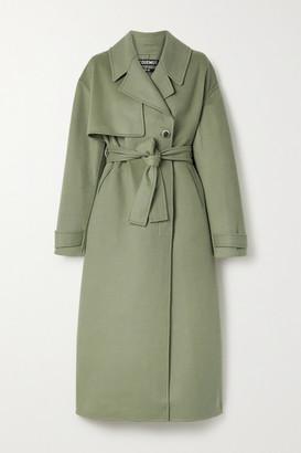 Jacquemus Sabe Belted Wool-blend Felt Coat - Gray green