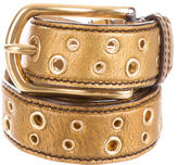 Prada Metallic Grommet-Embellished Belt