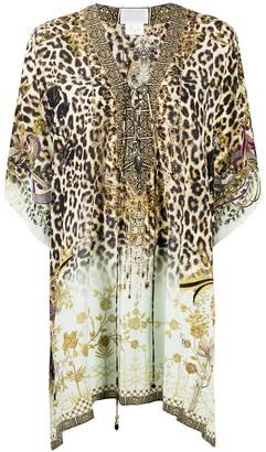 Camilla V-neck leopard print silk tunic
