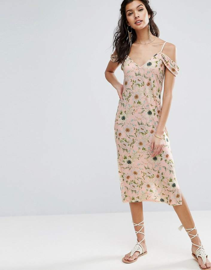 Asos Design Midi Sundress With Cold Shoulder In Floral Print
