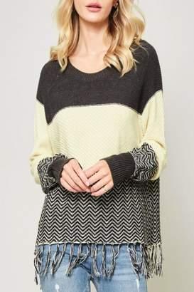 Promesa Usa Color-Block Fringe Sweater