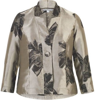 Chesca Two-Tone Floral Jacquard Jacket