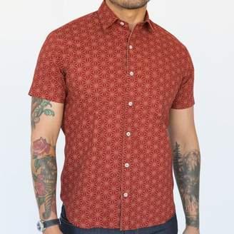 Blade + Blue Red Geometric Floral Print Short Sleeve Shirt - ERIK