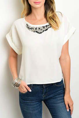 Miley And Molly Ivory Embellished Top