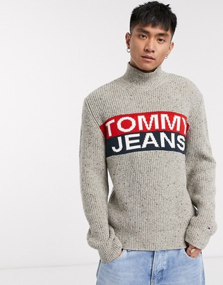Tommy Jeans logo panel roll neck knit jumper in cream