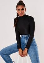 Missguided Black Rib High Neck Bodysuit