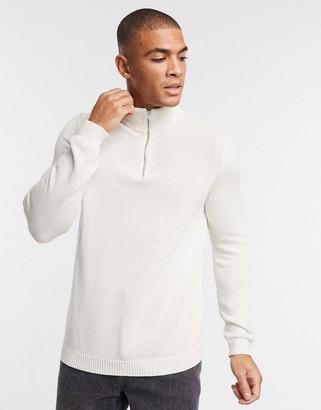 ASOS DESIGN midweight cotton half zip jumper in ecru
