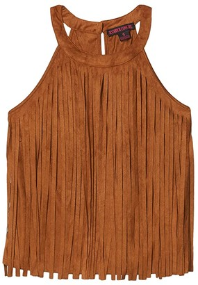 Rock and Roll Cowgirl Halter Neck Fringe Top 49-4471 (Camel) Women's Clothing
