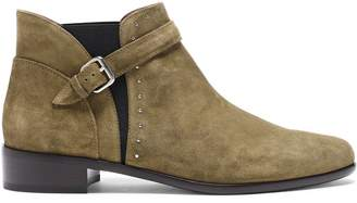 Tabitha Simmons Gigi Buckle-detailed Studded Suede Ankle Boots