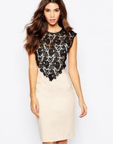 Paper Dolls Sweetheart Pencil Dress With Crochet Lace Overlay