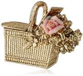 "1928 Jewelry ""Porcelain Rose Collection"" Gold Tone Pink Porcelain Rose Basket Pin"
