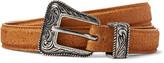 Saint Laurent 2cm Brown Distressed Suede Belt