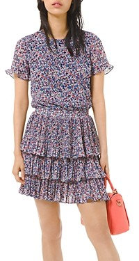 MICHAEL Michael Kors Floral Print Pleated Ruffled Dress