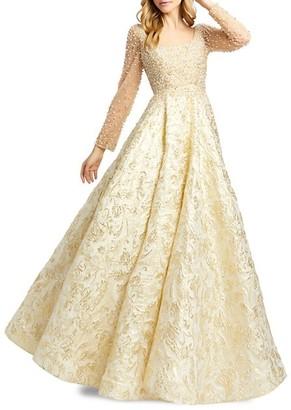 Mac Duggal Beaded Embossed Novelty Gown