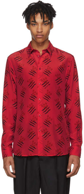 Givenchy Red Scratch Olives Shirt
