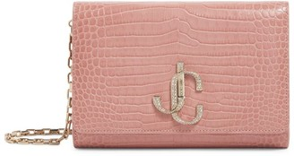 Jimmy Choo Leather Embellished Monogram Varenne Clutch Bag