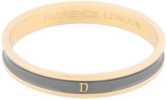 Florence London Initial D Bangle 18Ct Gold Plated With Grey Enamel