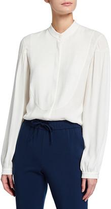 Akris Punto Long-Sleeve Crewneck Button-Down Solid Blouse