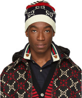 Gucci Navy and Red Knit GG Beanie