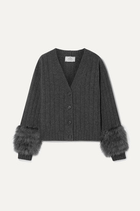 Prada Feather-trimmed Ribbed Wool And Cashmere-blend Cardigan - Charcoal
