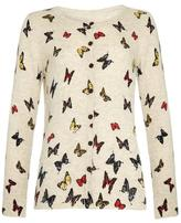 Yumi Butterfly Print Cardigan Cream