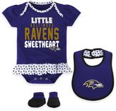 NFL Baltimore Ravens Little Sweet 3-Piece Creeper, Bib, and Bootie Set