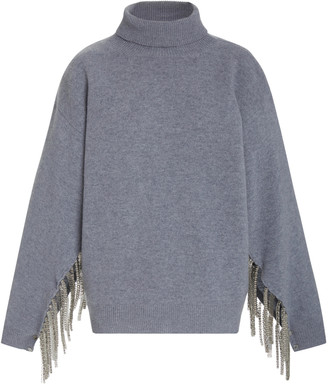 Christopher Kane Chain-Embellished Wool-Blend Turtleneck Sweater