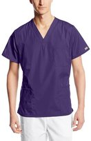 Cherokee Workwear Scrubs Unisex V-Neck Top, Pewter, X-Small