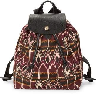 Longchamp Le Pliage Ikat Leather-Trim Backpack