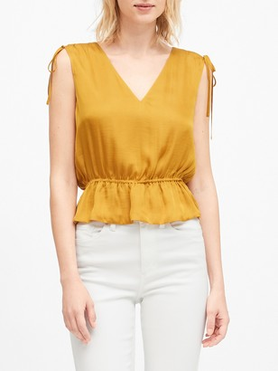 Banana Republic Satin Ruched Cropped Peplum Top