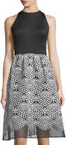 Taylor Sleeveless Organza Skirt Dress, Black/White