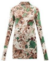 Jil Sander Marble-print Silk-jersey Top - Womens - Green Multi