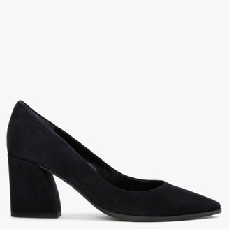 Kennel + Schmenger Grace Navy Suede Chunky Heel Court Shoes
