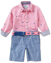 Class Club Little Boys 2T-7 Nautical Crab-Print Gingham Shirt & Chambray Shorts Set